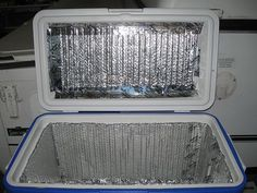 """Line your cooler with Reflectix (aluminized bubble wrap). You can find it at most home improvement stores. It was invented to insulate homes and buildings. Smart campers came up with the idea to use Reflectix to keep the heat out and the cold air in coolers. Cut the Reflectix into pieces that fit, lining the inside of your cooler, including the top/lid. You can even throw a sheet of Reflectix over the outside of your cooler to further insulate it.""…"