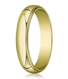 A polished domed profile, paired with the distinctive edge of milgrain is what makes this men's gold wedding ring a perennial favorite. At 5 mm wide, this flat-fit 14K Yellow Gold Wedding band is a dressed up version of our traditional band. And like every designer ring, it comes with a Lifetime Guarantee! $298.95