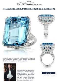 Kat Florence Signature Jewelry – Aquamarine and Diamond Ring. OMFG!! This is SO beautiful!!