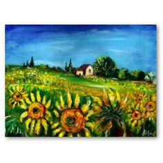 SUNFLOWERS AND COUNTRYSIDE IN TUSCANY   (Tuscany landscape,colorful ,vibrant ,expressive beauty of Italian Summer flora and fields in bright yellow orange,green,brown,blue colors,beautiful flowers ,cypress and olive trees,rustic old farm house under the blue sky.Acrylic painting on canvas  by Bulgan Lumini