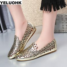 dd174664373f Brand Summer Shoes Flat Women Breathable Hollow Women Genuine Leather Shoes  Woman Comfortable Women Loafers Sandals