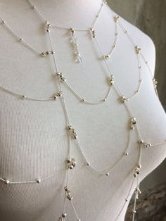 Beautiful Delicate Silver Body Jewelry with Pearl Detail by VENEAI