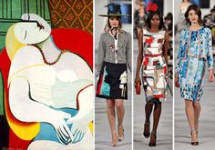 cubism in fashion - Oscar de la Renta's collection inspired by Cubism // abstract art style made by famous artists such as Picasso