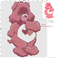 Cross Stitch Love A Lot (Care Bears) cross stitch pattern - free cross stitch . Cross Stitch For Kids, Cross Stitch Love, Beaded Cross Stitch, Crochet Cross, Cross Stitch Kits, Counted Cross Stitch Patterns, Cross Stitch Charts, Cross Stitch Designs, Cross Stitch Embroidery