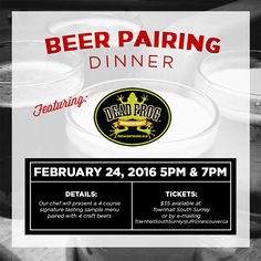 Townhall South Surrey Presents The Dead Frog Brewery Craft Beer Pairing Dinner
