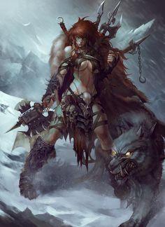 Barbarian, TONG YAN on ArtStation at https://www.artstation.com/artwork/lrLmJ