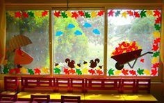 Great crafts to the best of children - - Classroom Window Decorations, Fall Door Decorations, School Decorations, Fall Decor, Autumn Crafts, Autumn Art, Autumn Theme, Art Mural 3d, Art For Kids
