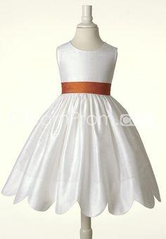 Best Selling White Scoop Scalloped-Edge Flower Girl Dress