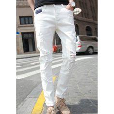 Slimming Trendy Zipper Fly Destroy Wash Color Block Splicing Crimping Narrow Feet Men's Denim Nine Minutes of Pants, WHITE, 29 in Jeans | DressLily.com