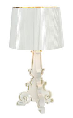 Lampe de table Bourgie Bianca / H 68 à 78 cm Blanc / intérieur or - Kartell madeindesign.com