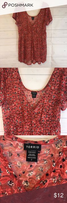 e1016b3637c Torrid floral sheer top size 2 2X New without tags Torrid sheer stretchy  floral print top