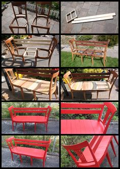 DIY Chair Bench.  I like instructions with pictures :-) #ChairBench Diy Furniture Chair, Diy Chair, Outdoor Furniture Sets, Outdoor Chairs, Outdoor Decor, Chair Bench, Home Decor, Homemade Home Decor, Interior Design