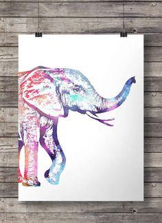 Free Printable Wall Art Elephant | Watercolor Rainbow Elephant - Printable wall art Instant download