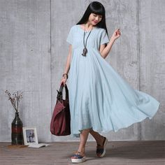 Loose Fitting Long Maxi Dress Summer Dress in Blue(r) Short Sleeve... ($68) ❤ liked on Polyvore featuring dresses, grey, women's clothing, long sleeve short dress, short-sleeve dresses, short-sleeve maxi dresses, maxi dress and cotton sundresses