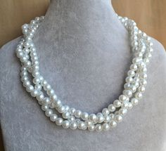 pearl Necklace,Glass Pearl Necklace, Triple Pearl Necklace,Wedding Necklace,bridesmaid necklace,Jewelry