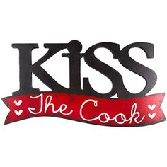 Add a pinch of loveto your kitchen. Kiss the Cook Wood Words is perfect for hanging in your kitchen or dining room. It features a cut-out of the word 2 - Sawtooth Hangers Apart from Center to Center)  Full Text: Kiss The Cook Art Craft Store, Craft Stores, Coca Cola Kitchen, Works Shop, Word Online, Tv Chefs, Kiss The Cook, Word 2, Decorative Signs