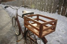 Lightweight Quarter Sawn Walnut Bicycle Basket #47 on Etsy, $130.38