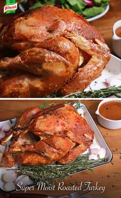 Get into the Thanksgiving spirit with our Super Moist Turkey recipe! Combine mayo, Knorr® Chicken Bouillon, shallot & herb. Spread 1/2 of the mayo mix under loosened turkey skin and tie legs. Place in a roasting pan breast side up; rub remaining mayo mix over skin. Roast covered w/foil for 1 hr at 425°. Then decrease oven to 350° & roast for 1.5 hours. Remove foil & cook for 30 mins, baste until skin is crispy. Let stand covered for 20 mins, serve with Knorr® Roasted Turkey gravy mix.