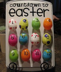 Easter countdown. Could make a Lenten calendar with a variety of enriching activities and prayer exercises.