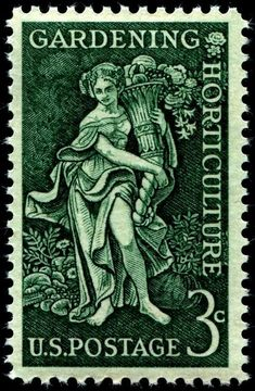 "Gardening Horticulture: ""Bountiful Earth,"" an allegorical figure, designed by American artist Denver Laredo Gillen (1914-1975), and issued on March 15, 1958"