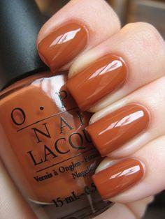 OPI-Ginger Bells, this nail color reminds me of pumpkin spice - nails Opi Nail Colors, Fall Nail Colors, Pretty Nail Colors, Nail Polishes, Gel Nail, Gorgeous Nails, Pretty Nails, Spice Nails, Fall Nail Polish