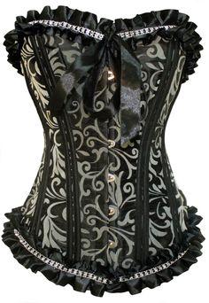Corset noir avec motif floral vintage gris avec froufrou