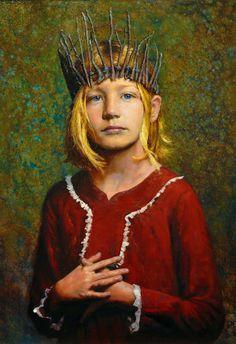 Seth Haverkamp (b. 1980), oil on panel {figurative #impressionist art blonde female head crown girl face portrait cropped painting detail #loveart #2good2btrue} sethhaverkamp.com