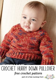 Crochet this easy pullover sweater jumper for kids from my baby playtime essentials free pattern roundup! Crochet Baby Sweater Pattern, Crochet Baby Sweaters, Baby Sweater Patterns, Baby Shoes Pattern, Crochet Baby Shoes, Crochet For Boys, Newborn Crochet, Baby Knitting, Crochet Baby Clothes Boy
