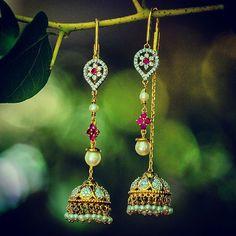 Earrings – Page 4 Jade Jewelry, India Jewelry, Trendy Jewelry, Wedding Jewelry, Fashion Jewelry, Glass Jewelry, Diamond Jewelry, Gold Earrings Designs, Gold Jewellery Design