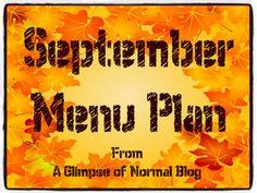 September Menu Plan, Glimpse of Normal Blog