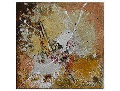 Materialcollage - acryl / gips / pigmente/ öl / sande / tusche / blattold / rost auf leinwand - die ränder sind in einem dunklen rotbraun ummalt