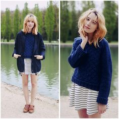 Typhaine Augusto - &Otherstories Sweater, Sheinside Dress, Cotélac Shoes, Sheinside Kway - Parc de Sceaux