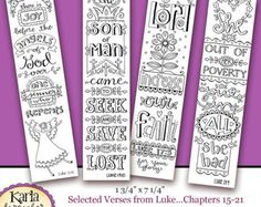 50% OFF SALE Luke 1-4 Color Your Own Bible Bookmarks Bible