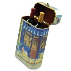 The two-bottle Artist Wine Box is as attractive as it is functional. This great wine box is offered in four Impressionists painting designs, including Renoir's Luncheon of the Boating Party, Venice Canal, Trattoria Peppo, and Street Café.