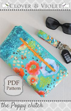 The Poppy Clutch {Free Pattern for the Flora Blog Hop at Windham} || Clover & Violet