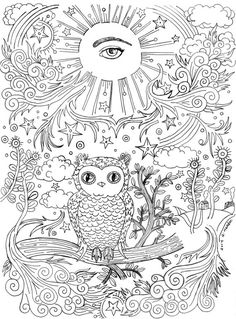 Coloring Book Page- All-Seeing Eye with Owl on a Branch- printable .pdf file