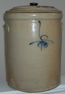 Antique crock with bee