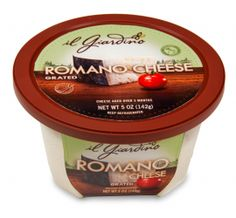Sharp and tangy, the robust flavor of il Giardino® Romano cheese is sure to satisfy the taste buds. This classic Italian-style cheese works well as a grated topping over pizza, pasta, steamed vegetables and soups. Romano cheese can also be sprinkled over quiches and frittatas or used alongside breading to coat chicken and fish. Pleasantly pungent!