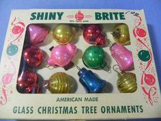 "GB-Vintage old Shiny Brite miniature feather tree Christmas ornaments- 1"" ea 