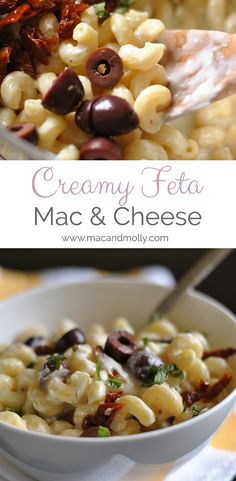 This creamy mac and cheese recipe uses a feta cheese sauce, kalamata olives and sun dried tomatoes for a Greek recipe twist on a favorite!