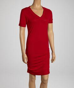 Burgundy Ruched V-Neck Dress by Zenana on #zulily today!