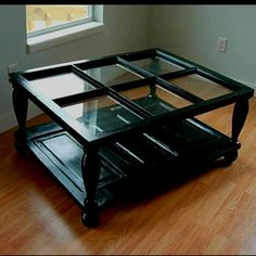 Coffee table made from old window and door