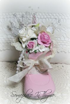 Pink Baby Shoe Pincushion-pink pincushion, roses, home decor, home decoration, baby shoe, pincushion, pearls, cottage, pink and white, shabby,