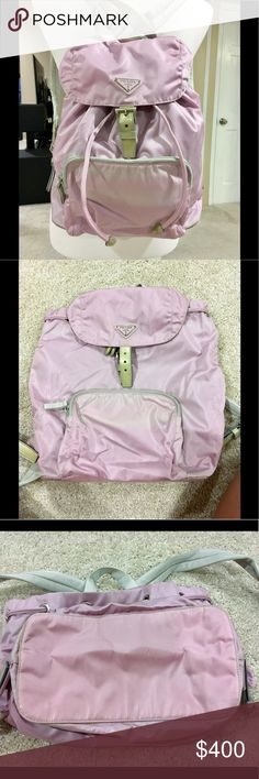 Prada Lavender Vela Nylon Backpack Rare and hard to find vintage Prada backpack!  authentic! This backpack has been in storage so there's some minor staining highlighted in the collage photo. One of the straps has some fraying (photographed) but it too is minor. Height: 10.8 width: 10.5 depth: 5.3 shoulder strap: 27 inches. One inside zipper. One outside zipper. Please ask all questions!  Prada Bags Backpacks
