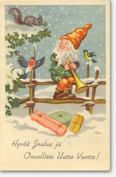 """Tonttu - """"Merry Christmas"""" Finnish Holiday Cards, Christmas Cards, Merry Christmas, Gnome Pictures, Carl Larsson, Old Postcards, Scandinavian Christmas, Old Toys, Vintage Cards"""