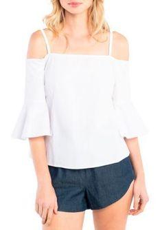 Kensie White Cold Shoulder Bell Sleeve Top