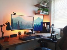 Home Office Setup, Home Office Design, House Design, Computer Desk Setup, Gaming Room Setup, Mundo Dos Games, Bedroom Setup, Game Room Design, Workspace Inspiration
