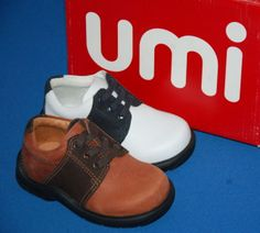New Umi Boys Acorn Leather Shoes White  Navy or Camel Various Sizes | £8.99