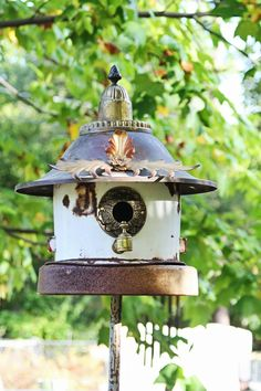 "Items similar to Birdhouse, Metal Birdhouse, Reclaimed Objects Birdhouse, ""Fluer de Lys"" on Etsy Bird Houses Diy, Fairy Houses, Dog Houses, Bird House Feeder, Bird Feeder, Bird Boxes, Little Houses, Yard Art, Bird Feathers"
