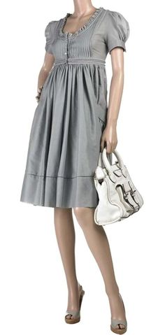 Image result for grey pintuck pleated waist bow dress